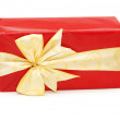 Red gift box isolated on the white — Stock Photo
