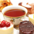 Stock Photo: Selection of sweet cakes and tea