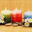 Candles, flowers and pebbles for spa — Stock Photo
