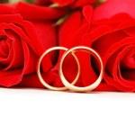 dva snubní prsteny a červené růže — Stock fotografie