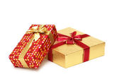 Two gift boxes isolated on white — Stock Photo