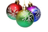 Three Christmas balls hanging — Foto Stock