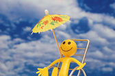 Smilie enjoying sun at the island — Stock Photo