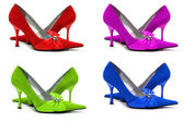 Woman shoes of four different colors — Stock Photo