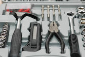 Toolkit with various carpenter tools — Stock Photo