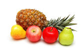 Apples, pears and pineapple isolated — Stock Photo
