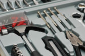 Various DYI tools in the toolkit box — Stock Photo