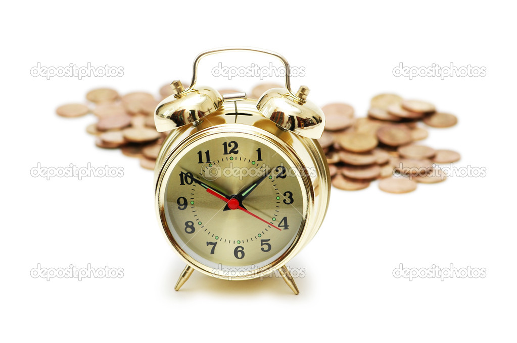 Time is money concept with clock and coins — Stock Photo #2652646