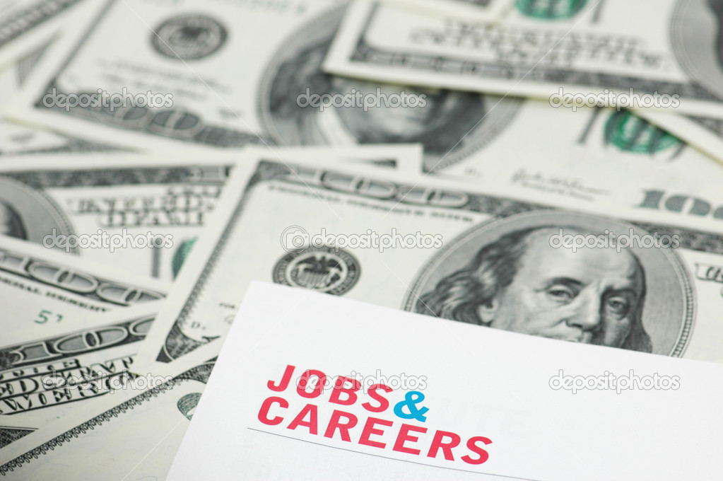 Employment concept  - Job and careers words over dollars — Stock Photo #2654403