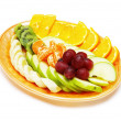Fruit salad in the plate isolated — Stock Photo