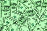 Hundred dollar bank notes arranged — Stock Photo
