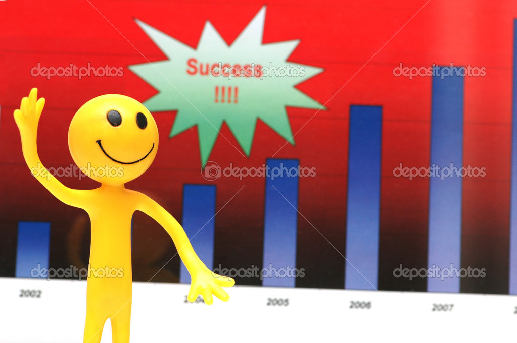 Smilie making presentation about company's business success — Stock Photo #2660262