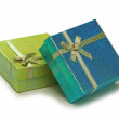 Gift boxes isolated on the white - Stock Photo