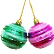 Two christmas balls isolated - 图库照片