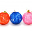 Three christmas balls isolated — Stock Photo