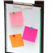 Open binder with post-it notes — Stock Photo