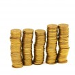 Golden coins isolated on the white — Stock Photo