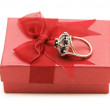 Ring and giftbox isolated - Stock Photo
