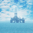 Offshore oil rig in the Caspian Sea — Stock Photo
