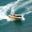 Motor boat making a turn in the sea — ストック写真
