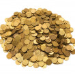 Pile of golden coins isolated — Photo