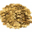 Pile of golden coins isolated — Stock Photo #2687485