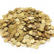 Pile of golden coins isolated — Stock Photo #2687497