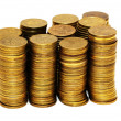 Stack of coins isolated on the white - Stock Photo