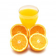Oranges and juice isolated on the white — Stock Photo