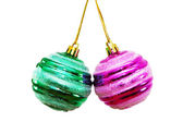 Two christmas balls isolated — 图库照片