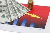 Bar charts and hundred dollars — Stock Photo