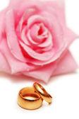 两个结婚戒指和粉红色的玫瑰 — 图库照片