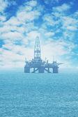 Offshore oil rig in the Caspian Sea — Stock Photo