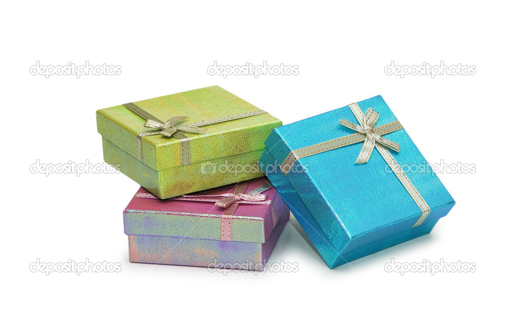 Gift boxes isolated on the white background — Stock Photo #2680214