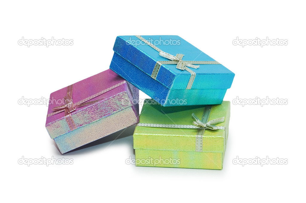 Gift boxes isolated on the white background — Stock Photo #2680497
