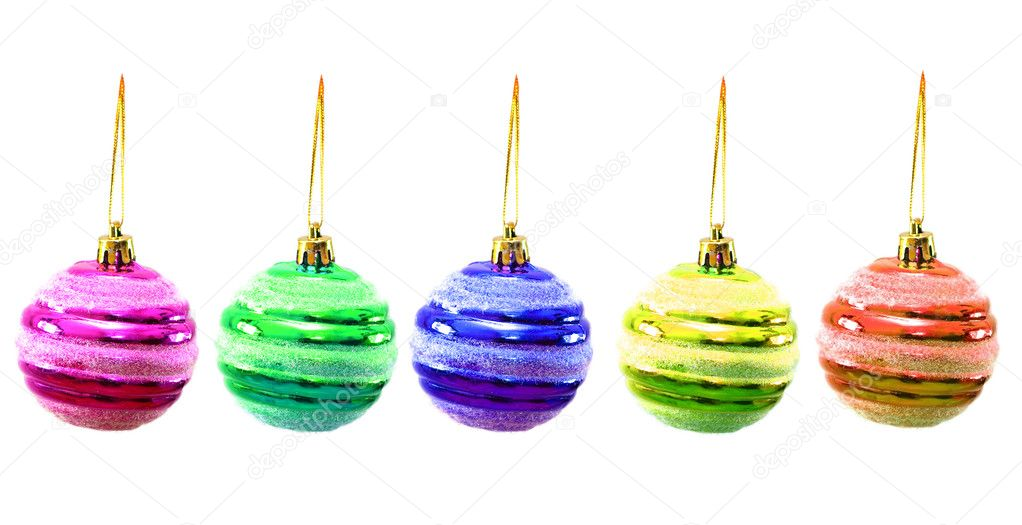 Christmas balls of various colours isolated on white — Stock Photo #2682046