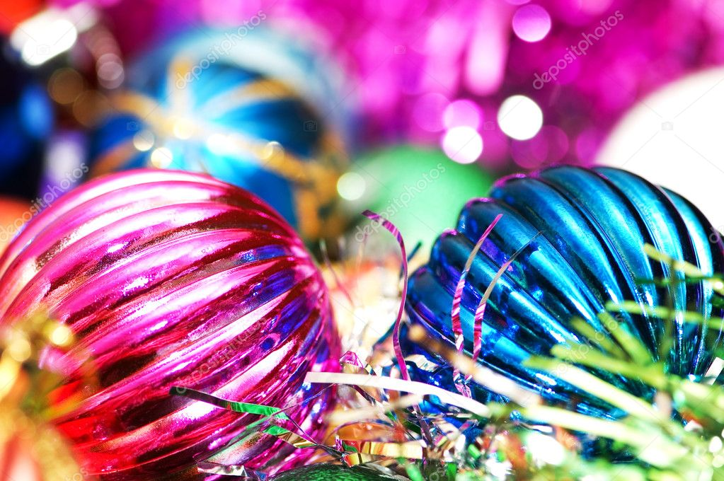 Colourful christmas decoration on a shiny background — Stock Photo #2682254