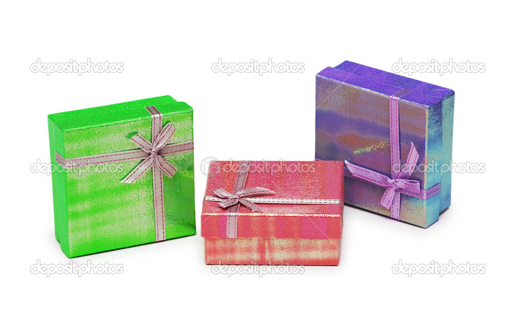 Three gift boxes isolated on the white  Stock Photo #2682981