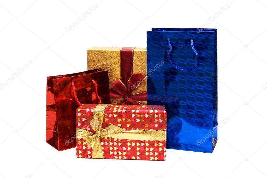 Bags and giftbox isolated on the white — Stock Photo #2683461