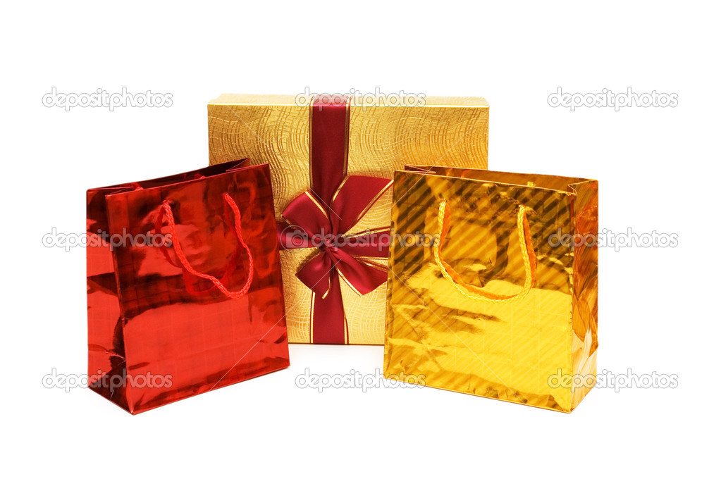 Bags and gift box isolated on the white  Stock Photo #2683481
