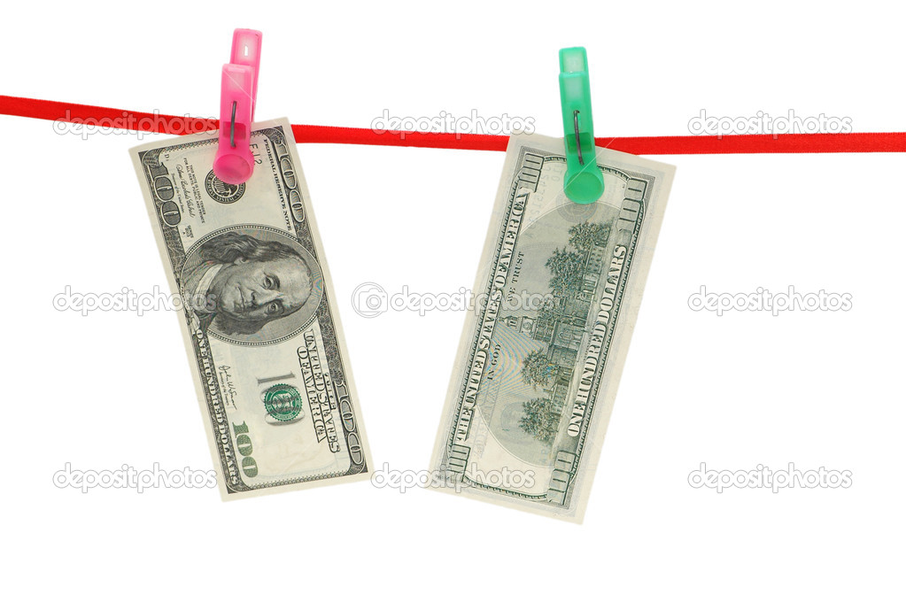 Monay laundering concept - dollar notes hanging on the rope — Stock Photo #2684948