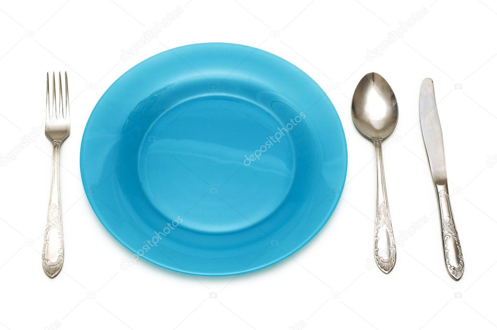 Blue plate and table utensils stock photo elnur 2685137 for Table utensils