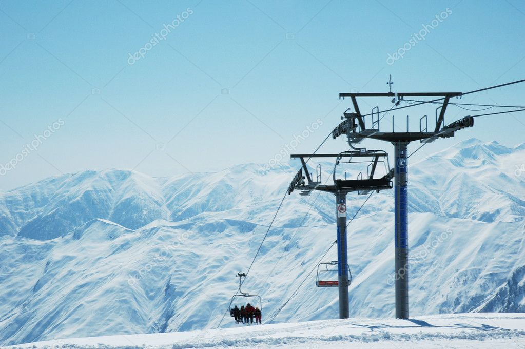 Ski lift chairs on bright winter day — Stock Photo #2685969