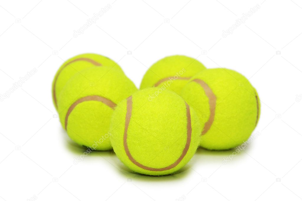Many tennis balls isolated on the white  Stock Photo #2686623