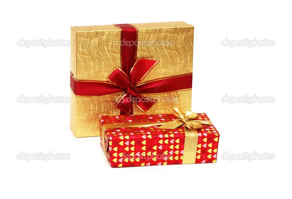 Two gift boxes isolated on white background — Stock Photo #2686782