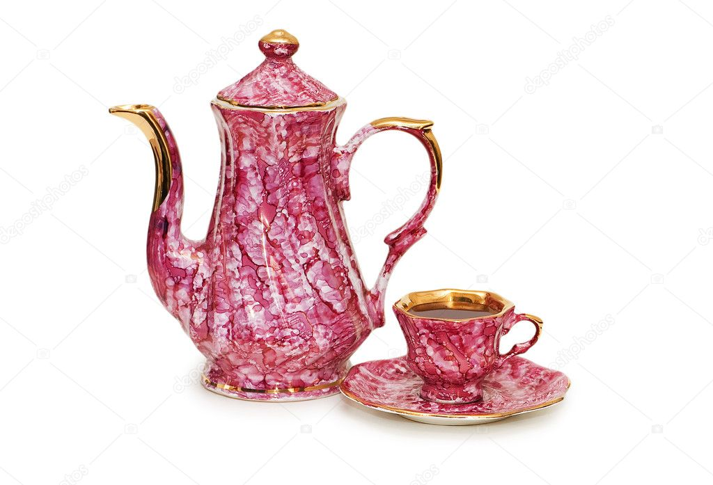 Teapot and cup of tea isolated on white — Stock Photo #2687426