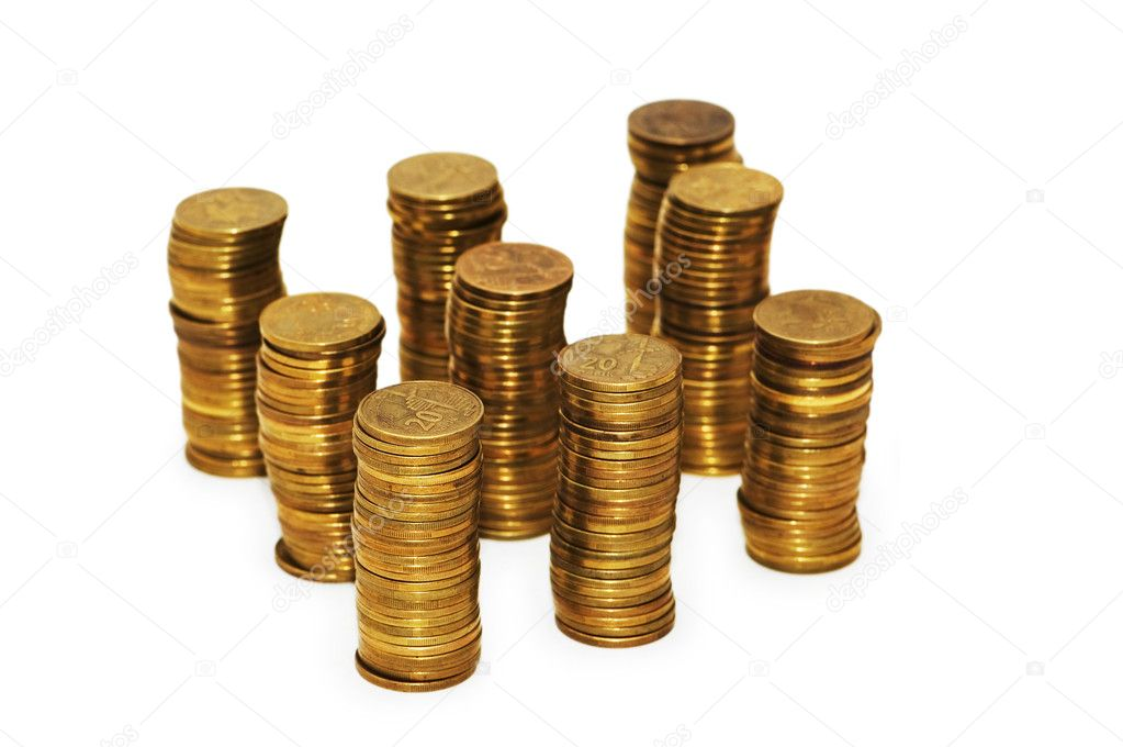 Golden coins isolated on the white background — Stock Photo #2687489