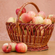 Wattled basket with apples — Stok fotoğraf