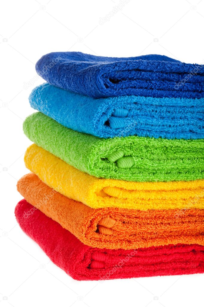 Colour terry towels combined by pile on white background. Isolated. — Stock Photo #1281859