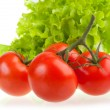 Red tomatoes and green  salad. — Stock Photo